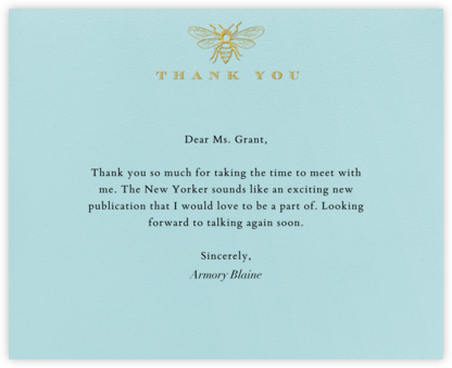 Bee Thank You - Light Blue - Paperless Post - Online greeting cards