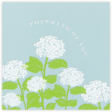 Hydrangea - Thinking of You (Light Blue) - Paperless Post - Online Cards