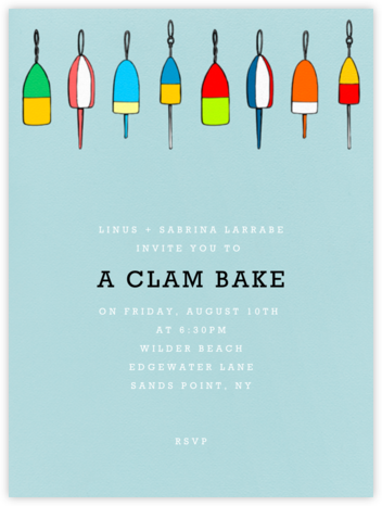 Lobster Buoys (Light Blue) - Paperless Post - Summer entertaining invitations