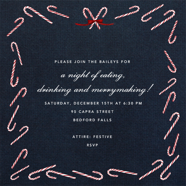 Candy Cane (Square) - Midnight - Paperless Post - Invitations