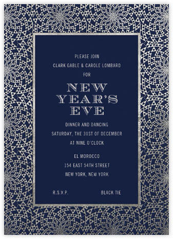 Deco Border - Midnight - Paperless Post - New Year's Eve Invitations