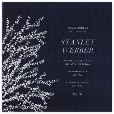 Forsythia - Midnight with White - Paperless Post - Adult Birthday Invitations