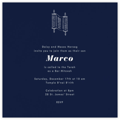 Navy Blue (Square) - Paperless Post - Bat and Bar Mitzvah Invitations