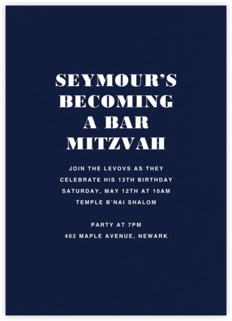 Navy (Tall) - Paperless Post - Bar and Bat Mitzvah Invitations