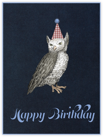 Owl (Midnight) - Paperless Post - Birthday Cards for Him