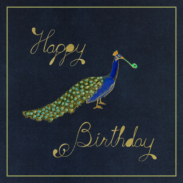Peacock Birthday (Navy) - Paperless Post - Birthday cards