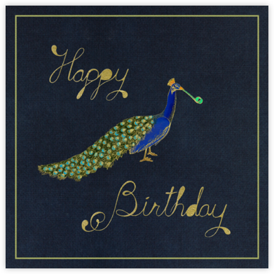 Peacock Birthday (Navy) - Paperless Post - Online greeting cards