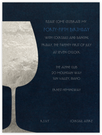 Wineglass Foil (Midnight) - Paperless Post - Adult Birthday Invitations