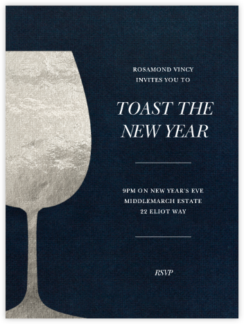 Wineglass Foil (Midnight) - Paperless Post - New Year's Eve Invitations
