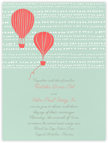 Hot Air Balloon Duo- Mint and Coral - Paperless Post -