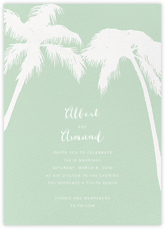 Tropical Palm - Mint - Paperless Post - Wedding Invitations