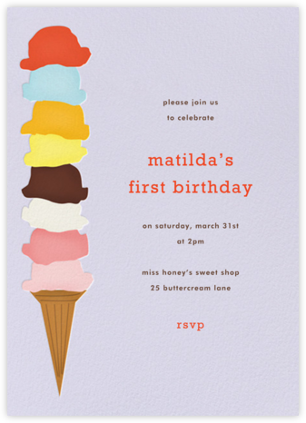 Ice Cream Cone - Taro - Paperless Post - Invitations