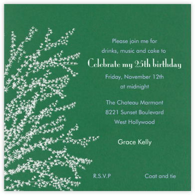 Forsythia - Moss - Paperless Post - Adult Birthday Invitations