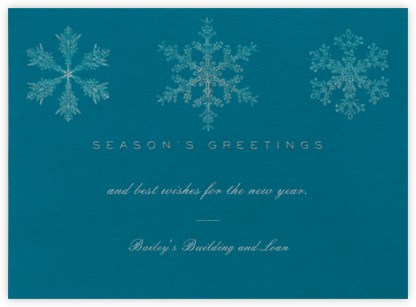 Snowflakes - Teal - Paperless Post - Company holiday cards