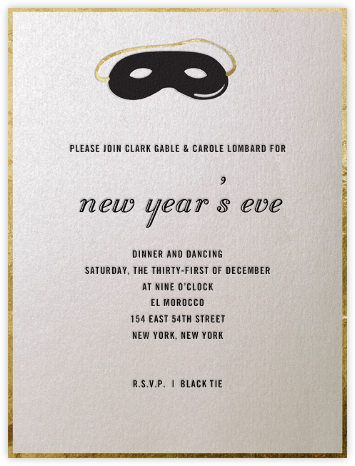 Domino Mask (Black) - Paperless Post - New Year's Eve Invitations
