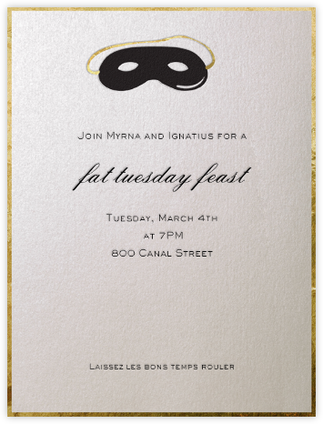 Domino Mask (Black) - Paperless Post - Mardi Gras invitations