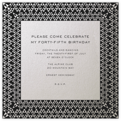 Triangle Deco Border - Paperless Post - Adult Birthday Invitations