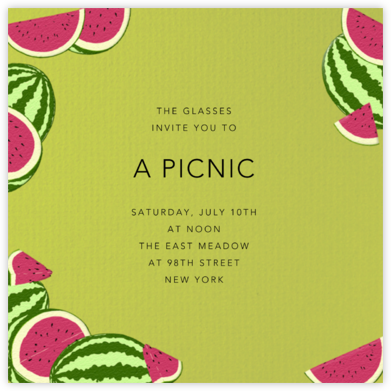 Watermelons (Pistachio) - Paperless Post - Picnic Invitations