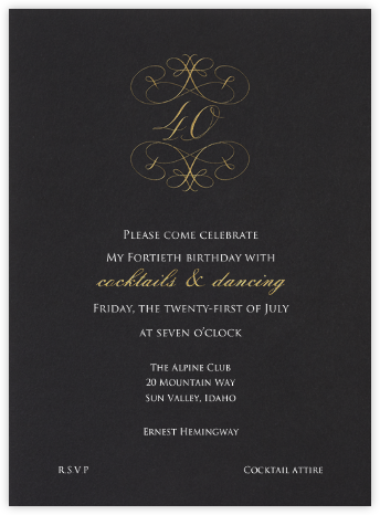 Milestone - 40th - Bernard Maisner - Milestone birthday invitations