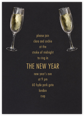 Champagne Glasses - Paperless Post - New Year's Eve Invitations