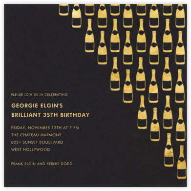 Champagne Gold (black) - Paperless Post - Adult Birthday Invitations