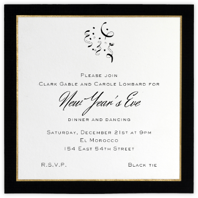 Oro (Black) - Paperless Post - New Year's Eve Invitations