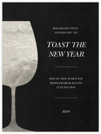 Wineglass Foil (Pitch) - Paperless Post - New Year's Eve Invitations