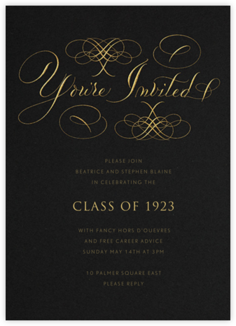 You're Invited - Black Flourished - Bernard Maisner - Graduation Party Invitations