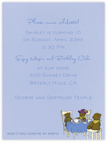 Tea Party (Blue) - Paperless Post - Kids' Birthday Invitations