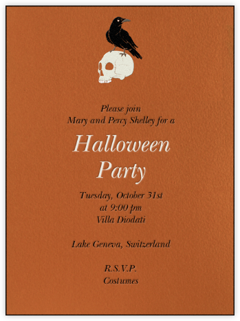 Raven with Skull - Paperless Post - Halloween invitations