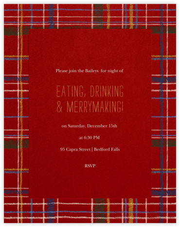 Contemporary Plaid (Tall) - Paperless Post - Holiday invitations