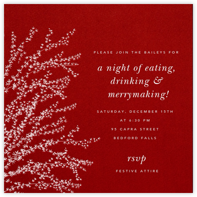Forsythia - Cardinal with White - Paperless Post - Winter Party Invitations