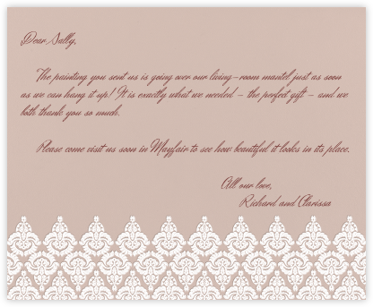 Brocade - Rose with Ivory (Horizontal) - Paperless Post -