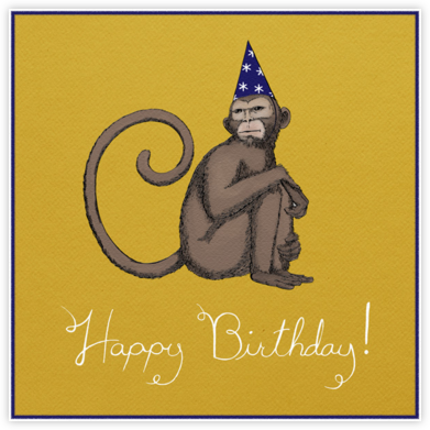 Monkey (Bright Yellow) - Paperless Post - Birthday Cards