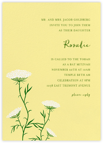 Queen Anne's Lace (Tall) - Pale Yellow - Paperless Post - Bar and Bat Mitzvah Invitations