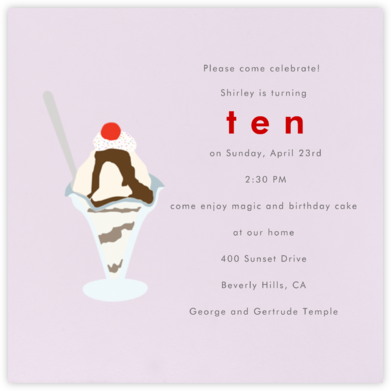 Ice Cream Sundae (Sweet Pea) - Paperless Post - Kids' Birthday Invitations