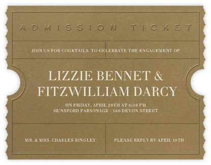 Golden Ticket (Tabac) - Paperless Post - Engagement party invitations