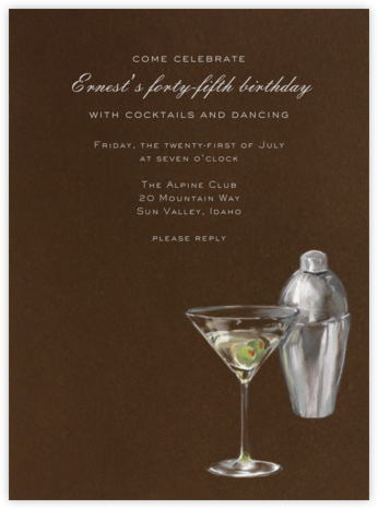Martini and Shaker - Paperless Post - Adult Birthday Invitations