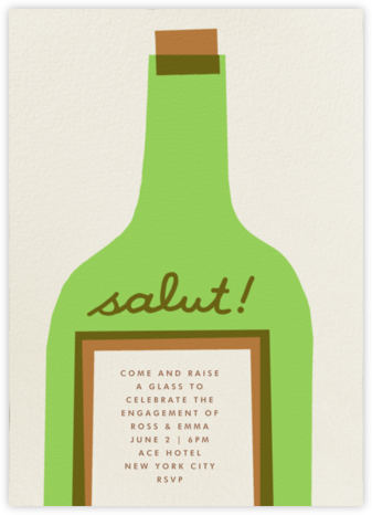 Wine Salut - Green - The Indigo Bunting - Engagement party invitations