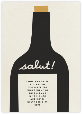 Wine Salut - Black - The Indigo Bunting - Engagement party invitations