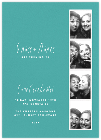 Photo Booth - Persian Green - Paperless Post - Adult birthday invitations