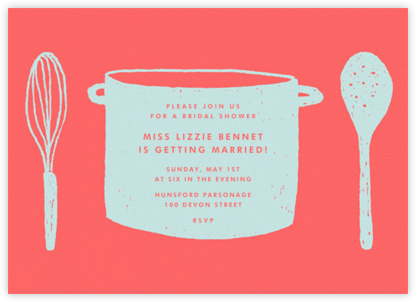 Whats Cooking? - Coral And Celadon - Paperless Post - Bridal shower invitations