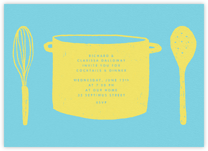 Whats Cooking? - Turquoise and Chartreuse - Paperless Post - Dinner Party Invitations