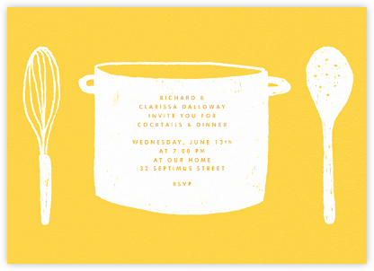 What's Cooking? - Yellow And White - Paperless Post -