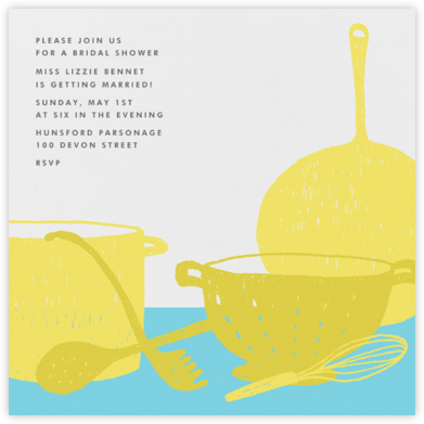 Whats Cooking? - Square (Chartreuse And Turquoise) - Paperless Post -