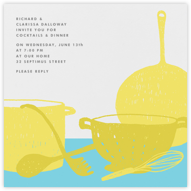 Whats Cooking? - Square (Chartreuse And Turquoise) - Paperless Post - Dinner party invitations