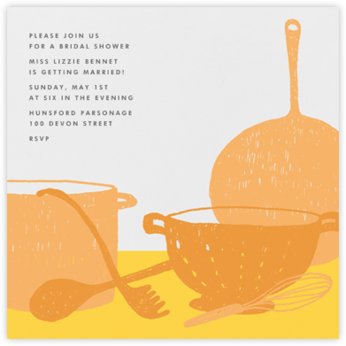 Whats Cooking? - Square (Tangelo And Mustard) - Paperless Post - Bridal shower invitations