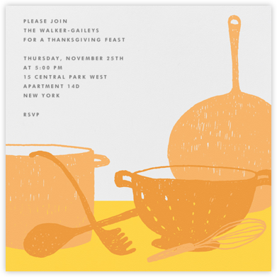 Whats Cooking? - Square (Tangelo And Mustard) - Paperless Post - Thanksgiving invitations