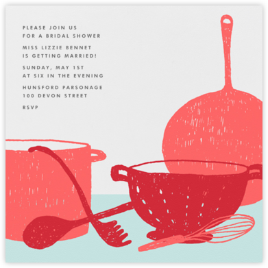 Whats Cooking? - Square (Cranberry And Celadon) - Paperless Post - Bridal shower invitations