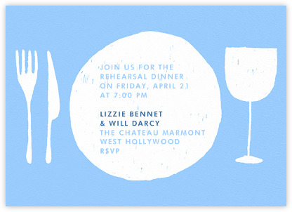 Place Setting - Light Blue and White - Paperless Post - Wedding weekend